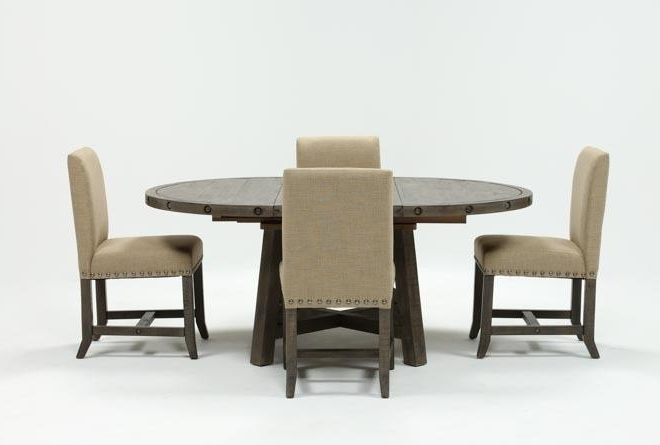 Jaxon Grey 5 Piece Round Extension Dining Sets With Wood Chairs In Favorite Jaxon Grey 5 Piece Round Extension Dining Set W/upholstered Chairs (View 7 of 20)