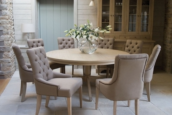 Jaxon Grey 5 Piece Round Extension Dining Sets With Wood Chairs Pertaining To Newest Round Dining Table With Upholstered Chairs (Gallery 14 of 20)
