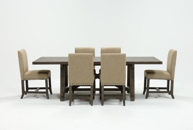 Jaxon Grey 7 Piece Rectangle Extension Dining Set W/uph Chairs Regarding Most Recent Norwood 9 Piece Rectangular Extension Dining Sets With Uph Side Chairs (Gallery 5 of 20)