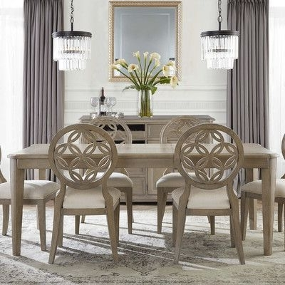 Jaxon Grey 7 Piece Rectangle Extension Dining Sets With Uph Chairs Inside Trendy One Allium Way Mousseau 5 Piece Dining Set (View 7 of 20)