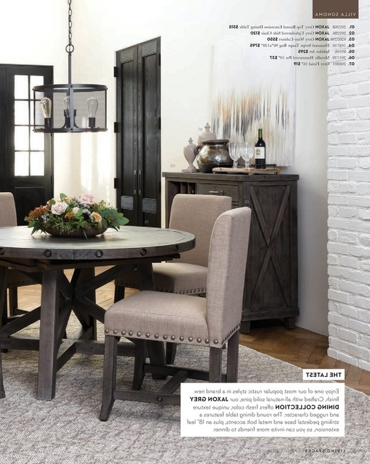 Jaxon Round Extension Dining Tables Inside 2017 Living Spaces – Spring 2018 – Jaxon Grey Round Extension Dining Table (View 11 of 20)
