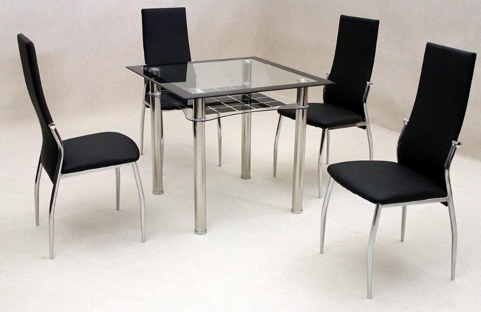 Jazo Black Dining Table Chrome 4 Lazio Chairs • Omg Selections For Most Recent Lazio Dining Tables (Gallery 14 of 20)