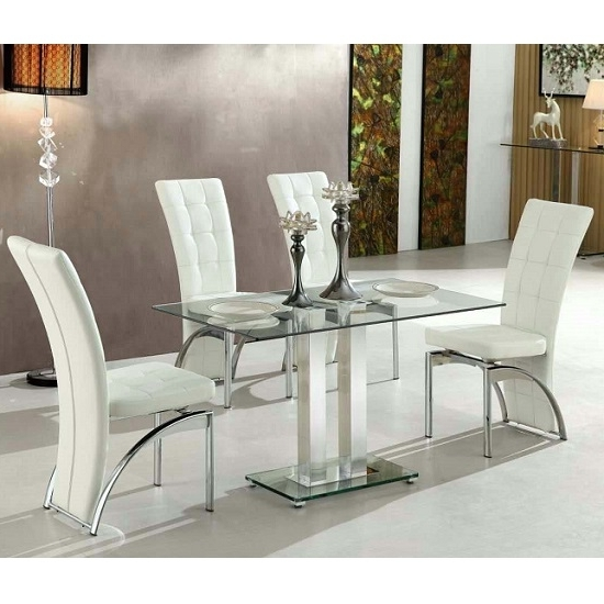 Jet Small Clear Glass Dining Table With 4 Ravenna White For Fashionable Clear Glass Dining Tables And Chairs (Gallery 7 of 20)