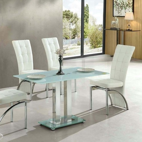 Jet Small Glass Dining Table Rectangular In White 27421 With Regard To Fashionable Small White Dining Tables (Gallery 8 of 20)