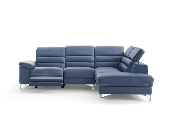 Johnson Sectional Sofa Blue Top Grain Italian Leather Chaise Within 2018 Tess 2 Piece Power Reclining Sectionals With Laf Chaise (Gallery 5 of 15)