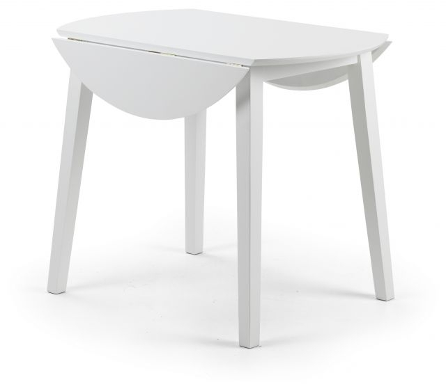 Julian Bowen Costa White Lacquered Finish Drop Leaf Circular Dining In Most Recent White Circular Dining Tables (View 9 of 20)