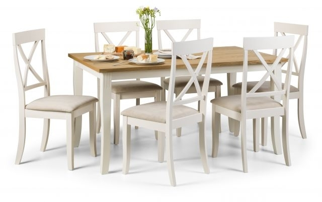 Julian Bowen Devon Ivory & Light Oak Rectangular Dining Table & 6 With Widely Used Light Oak Dining Tables And 6 Chairs (View 7 of 20)
