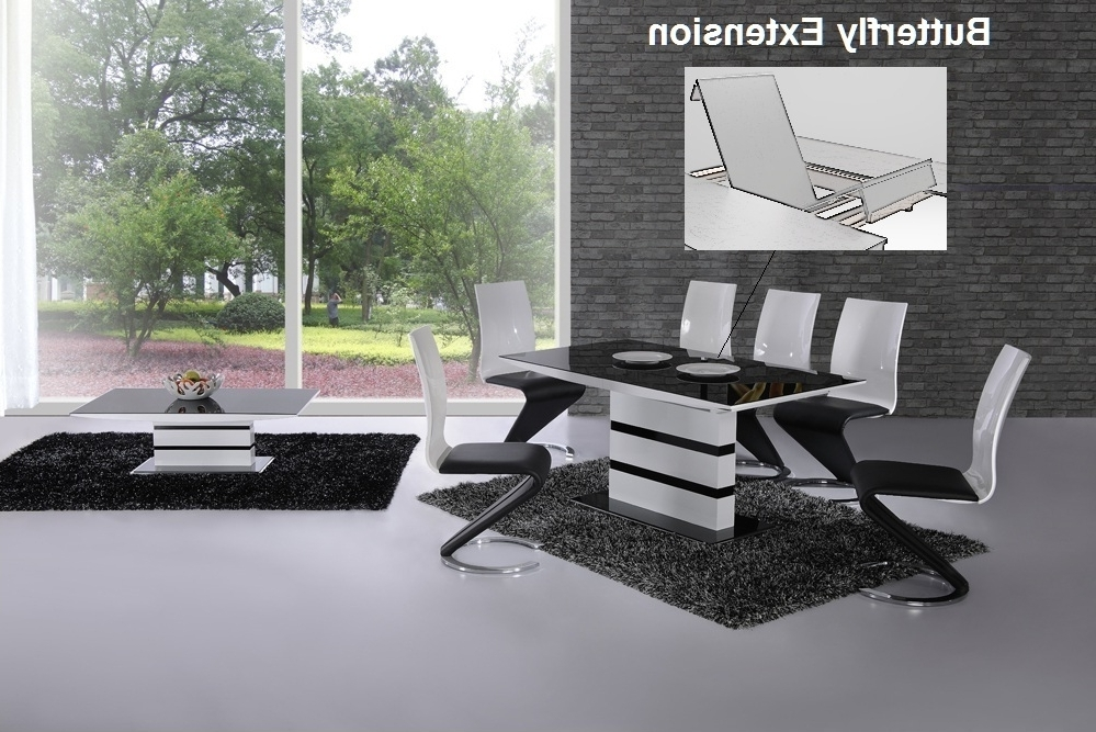 K2 White & Black Glass Designer Extending Dining Table Only Or With With Fashionable White Extending Dining Tables And Chairs (View 7 of 20)
