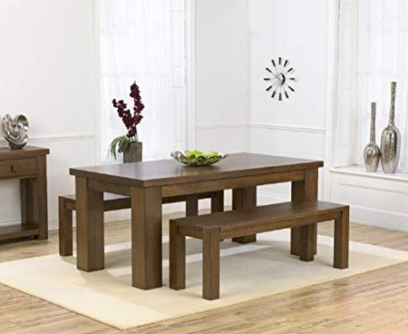 Kentucky Dark – Solid Oak Dark 180Cm Dining Table With Two Benches Throughout Famous 180Cm Dining Tables (View 12 of 20)