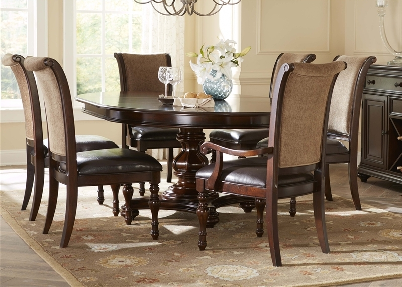 Kingston Dining Tables And Chairs For Popular Kingston Plantation Oval Pedestal Table 5 Piece Dining Set In Hand (View 9 of 20)