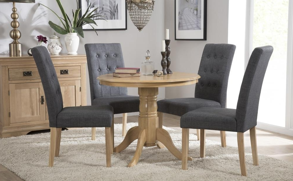 Kingston Round Oak Dining Table With 4 Regent Slate Chairs Only Inside Most Recently Released Kingston Dining Tables And Chairs (View 20 of 20)