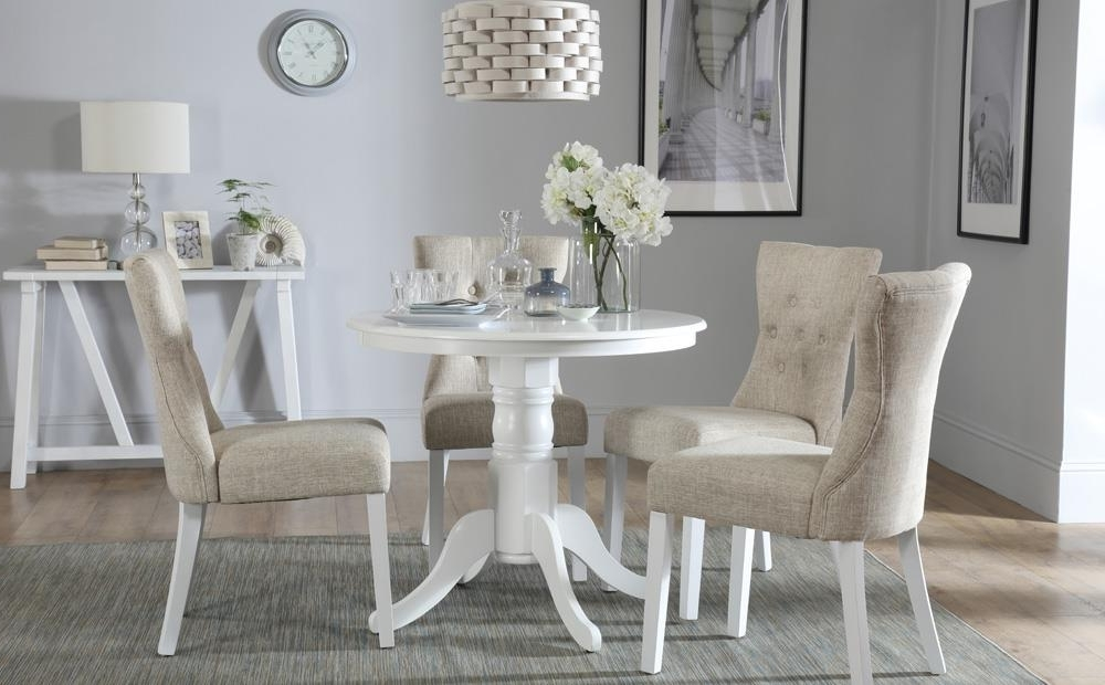 Kingston Round White Dining Table With 4 Bewley Oatmeal Chairs Only Regarding Fashionable Kingston Dining Tables And Chairs (Gallery 4 of 20)