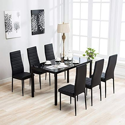 Kitchen Dining Sets With Regard To Popular Amazon – Mecor 7 Piece Kitchen Dining Set, Glass Top Table With (View 6 of 20)