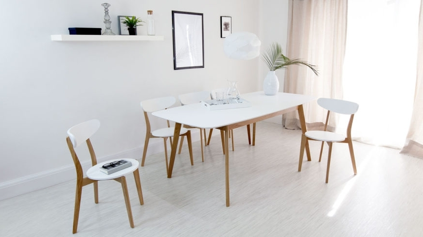 Kitchen Extendable Dining Table White Round Set Chairs Simple And With Most Up To Date White Extendable Dining Tables And Chairs (View 9 of 20)