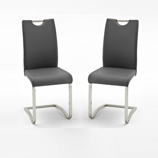 Koln Dining Chair In Grey Faux Leather In A Pair 26660 Pertaining To Newest Grey Leather Dining Chairs (Gallery 3 of 20)