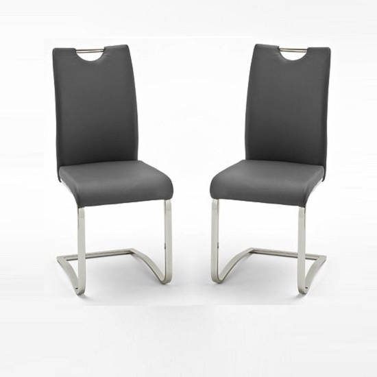 Koln Dining Chair In Grey Faux Leather In A Pair 26660 With Regard To Well Liked Grey Dining Chairs (View 11 of 20)