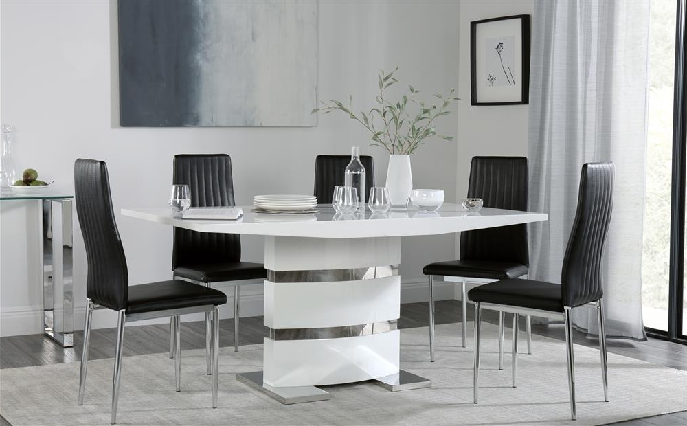Komoro White High Gloss Dining Table With 6 Leon Black Chairs Only For Most Current Leon Dining Tables (Gallery 5 of 20)