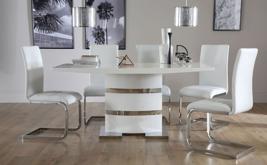 Komoro White High Gloss Dining Table – With 6 Perth White Chairs Intended For Newest Perth White Dining Chairs (View 6 of 20)