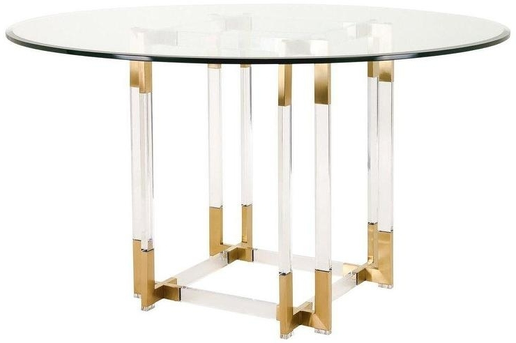Koryn Round Glass Gold Acrylic Dining Table With Regard To Well Known Acrylic Round Dining Tables (Gallery 1 of 20)