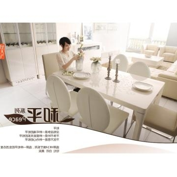 Kt14, China Tempered Glass In Cream Color And Mdf Dining Table With In Most Recent Cream High Gloss Dining Tables (View 11 of 20)