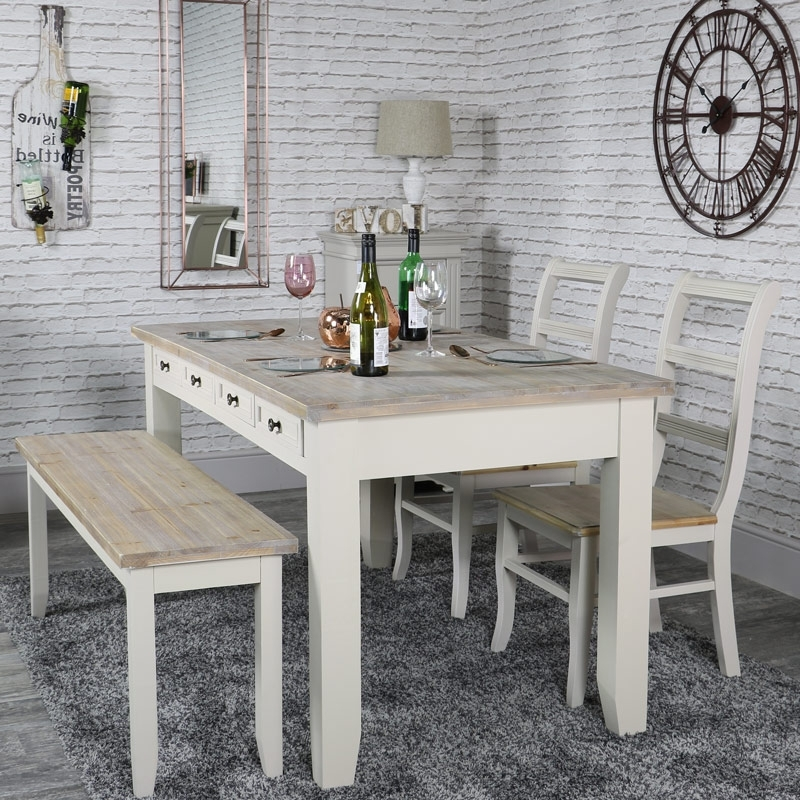 Large Grey 8 Drawer Dining Table With Bench And 2 Chairs – Cotswold Intended For Preferred Cotswold Dining Tables (View 13 of 20)