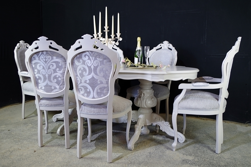 Large Italian Double Pedestal Dining Table + Louis Chairs + Bench Within Preferred Pedestal Dining Tables And Chairs (View 5 of 20)