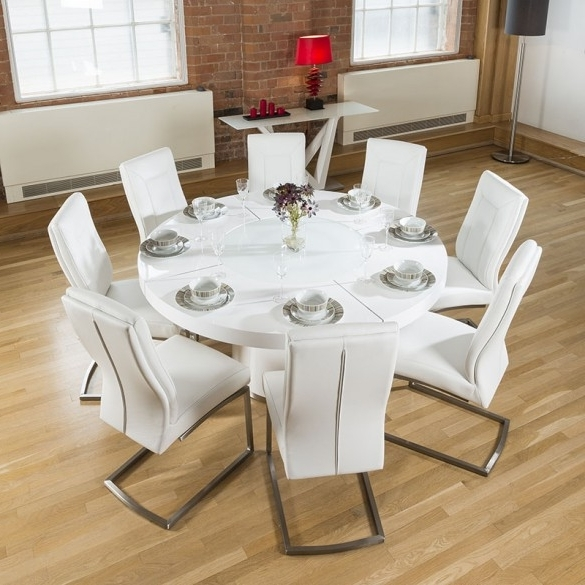 Large White Round Dining Tables In Latest Large Round White Gloss Dining Table Lazy Susan, 8 White Chairs (View 8 of 20)