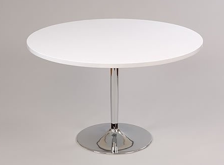 Large White Round Dining Tables Pertaining To Most Current Becks Large White Round Table Kitchen And Dining Table Chrome 100cm (View 17 of 20)