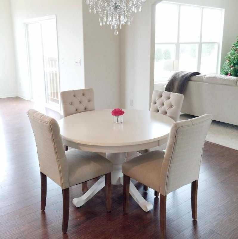 Lassen 5 Piece Round Dining Sets For Recent Love It! Minus The White Table Threshold™ Brookline Tufted Dining (View 13 of 20)