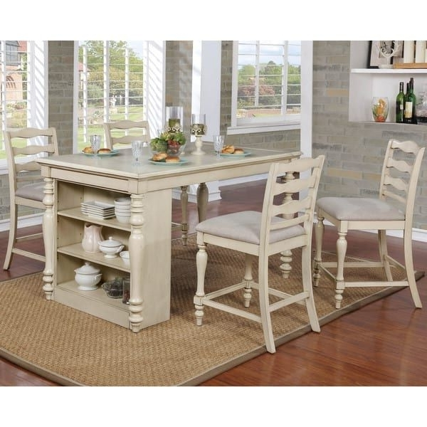 Lassen 7 Piece Extension Rectangle Dining Sets Throughout Latest Furniture Of America Jeanine Antique White Farmhouse Kitchen Island (View 4 of 20)