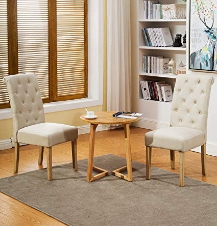 Latest Amazon – Muzii Fabric Dining Chairs Modern Elegant Armless With Fabric Dining Room Chairs (View 10 of 20)