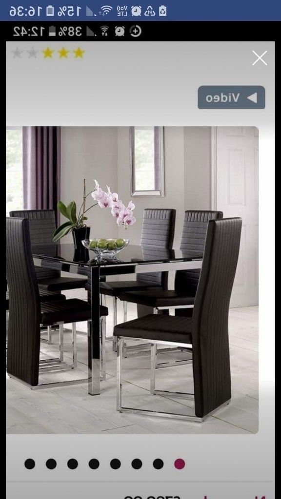 Latest Black And Chrome Glass Dining Table 6 Chairs (Gallery 6 of 20)