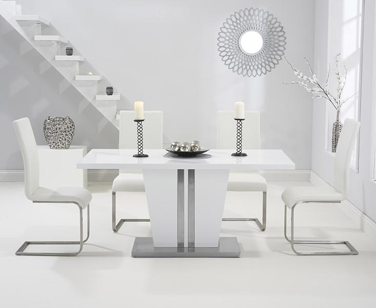 Latest Black Gloss Dining Room Furniture Pertaining To Buy Mark Harris Vigo White High Gloss Dining Set – 160Cm Rectangular (View 12 of 20)