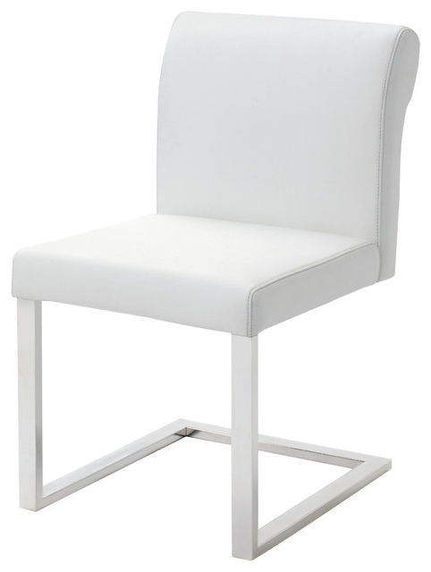 Latest Bruno White Leather Dining Chair – Modern – Dining Chairs  Ebpeters Pertaining To White Leather Dining Chairs (View 7 of 20)