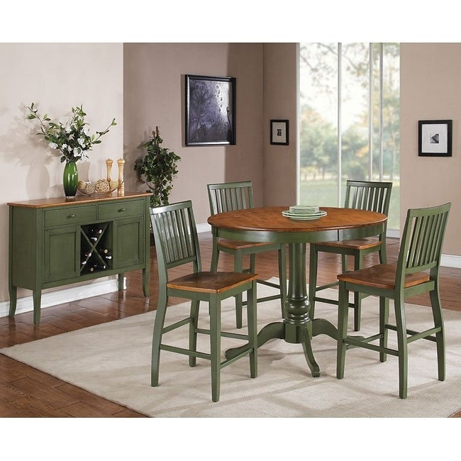 Latest Candice Ii Round Dining Tables Regarding Candice Round Counter Height Dining Set (Oak / Green) Steve Silver (View 11 of 20)