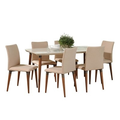 Latest Chandler 7 Piece Extension Dining Sets With Wood Side Chairs Intended For Manhattan Comfort Charles 7 Piece Dining Table Set In  (View 9 of 20)