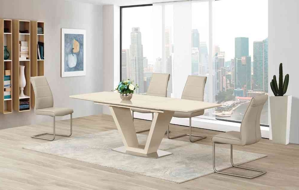 Latest Cream Extending Glass High Gloss Dining Table And 6 Taupe Chairs With Cream High Gloss Dining Tables (View 6 of 20)