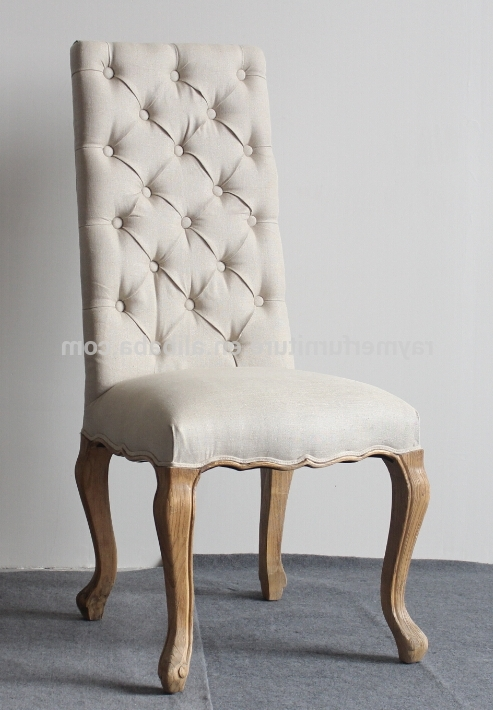 Latest Cream Linen Button Tufted High Back Fabric Dining Chairs – Buy High Intended For Button Back Dining Chairs (View 13 of 20)