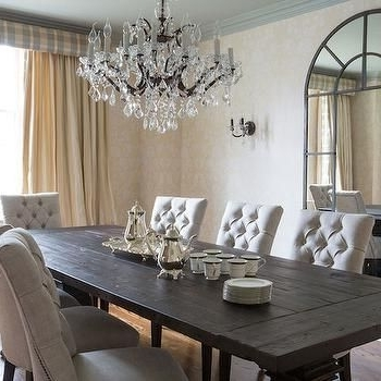 Latest Dark Wood Dining Room Furniture In Dark Wood Dining Table With Gray French Dining Chairs – French (View 6 of 20)