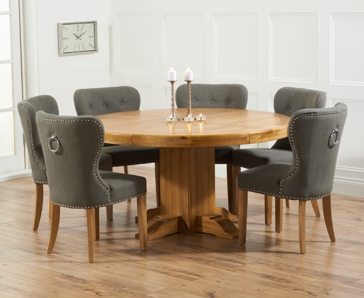 Latest Dining Tables With Grey Chairs Regarding Memphis Solid Oak 150cm Round Pedestal Dining Set With 4 Vicenza (Gallery 18 of 20)