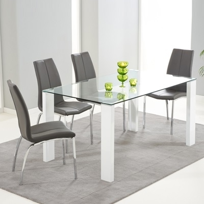 Latest Dining Tables With Grey Chairs Throughout Lorenzo Glass 150Cm Dining Table With 6 Carter Grey Chairs – Robson (Gallery 20 of 20)
