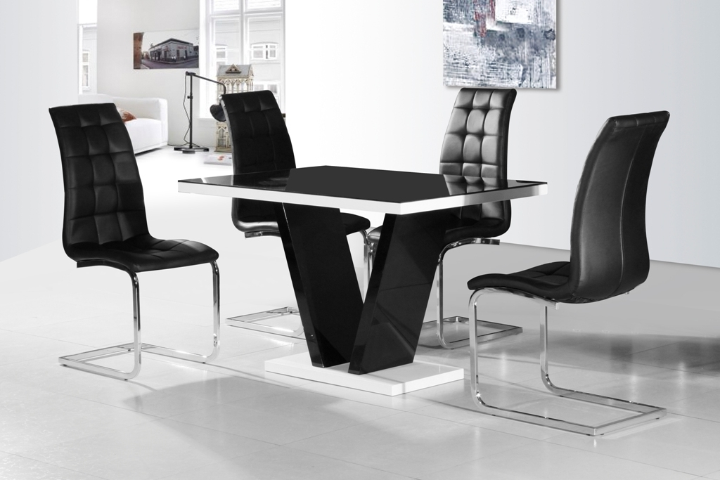 Latest Ga Vico Blg White Black Gloss & Gloss Designer 120 Cm Dining Set & 4 Inside Round Black Glass Dining Tables And 4 Chairs (View 8 of 20)