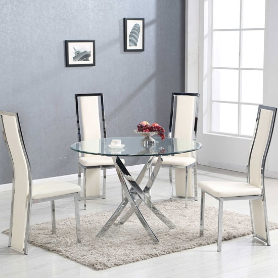 Latest Glass Dining Tables Throughout Daytona Round Glass Dining Table With 4 Collete Cream (View 10 of 20)