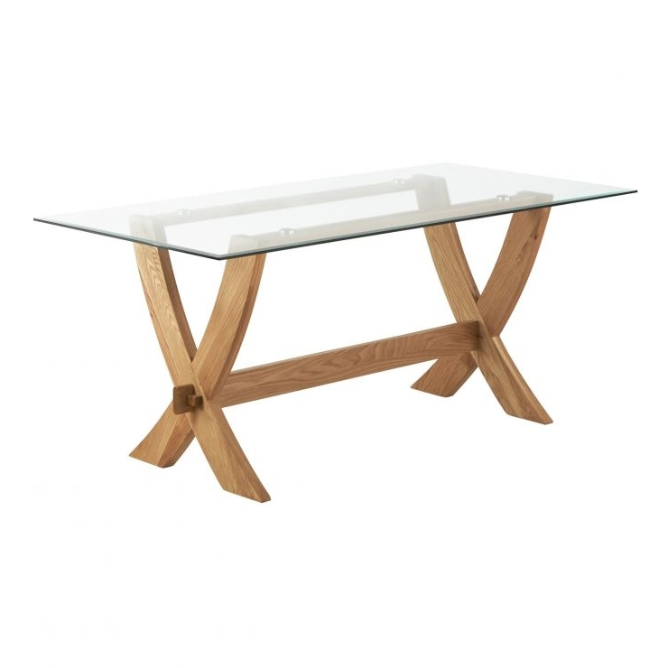 Latest Glass Top Oak Dining Tables Inside Reflection Crossed Leg Dining Table With Glass Top In Solid Oak (View 14 of 20)