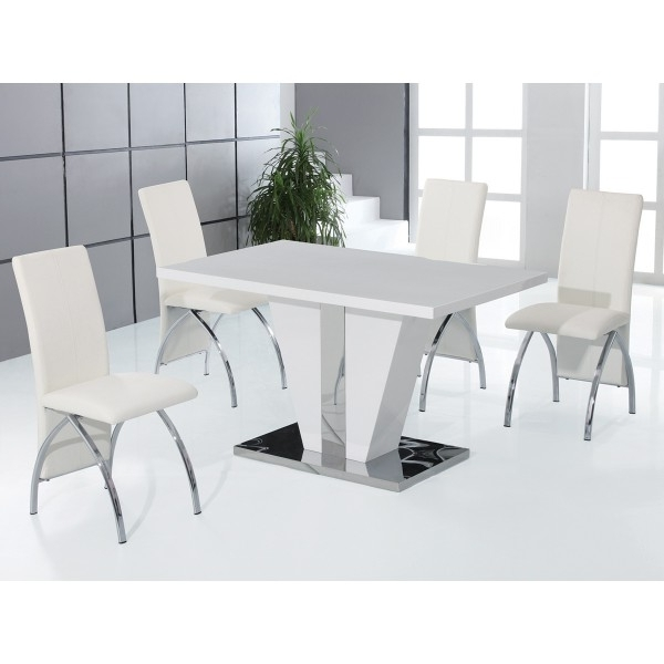 Latest Gloss Dining Tables Sets Pertaining To Cheap Heartlands Costilla High Gloss Dining Table Set 4, Dining (View 11 of 20)