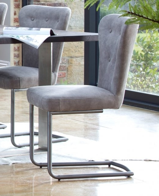 Latest Grey Dining Chairs With Regard To Metro Oak Oscar Metal Dining Chair – Grey – Metal Dining Chairs (View 13 of 20)