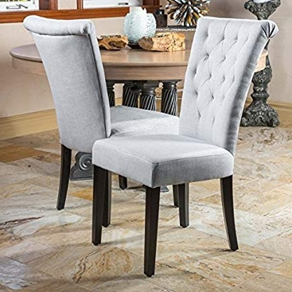 Latest Grey Dining Chairs Within Amazon – Paulina Light Grey Dining Chairs (Set Of 2) – Chairs (Gallery 1 of 20)