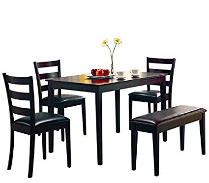 Latest Helms 7 Piece Rectangle Dining Sets With Side Chairs Intended For Amazon: Taraval 5 Piece Dining Set With Bench Cappuccino And (View 3 of 20)