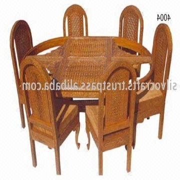 Latest Indian Teak Wood Hand Carved Dining Room Set & Restaurant Furniture Throughout Indian Dining Chairs (View 11 of 20)