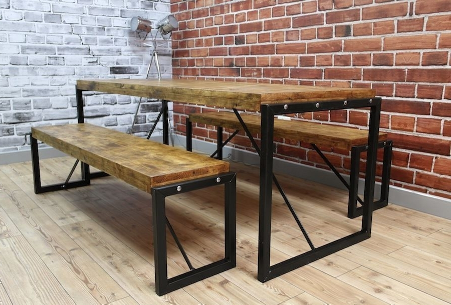 Latest Industrial Dining Table Steel & Reclaimed Wood / Benches / Set (View 11 of 20)